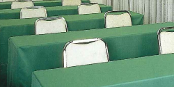 Conference or seminar table cloths.